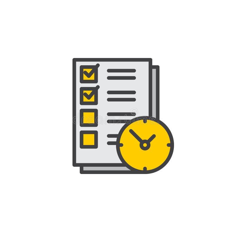 Robić liście z zegar linii ikoną, wypełniający konturu wektoru znak, liniowy kolorowy piktogram odizolowywający na bielu ilustracja wektor