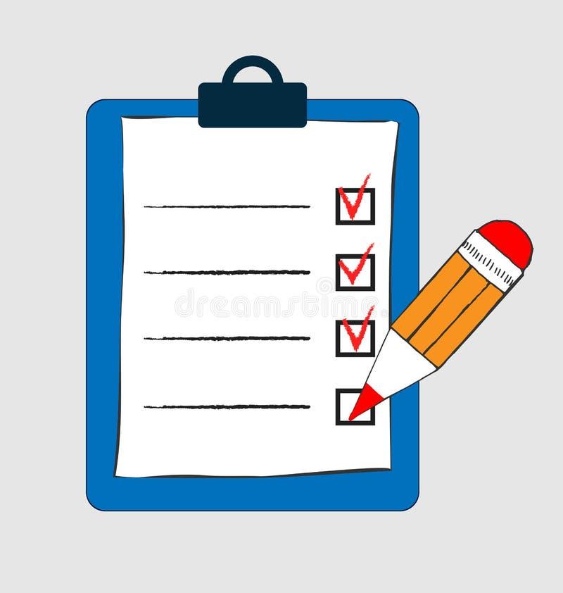 Robić listy ikonie w doodle nakreślenia liniach Biuro raportowa informacja Kreśli rękę z schowek listą kontrolną i pisze odosobni ilustracji