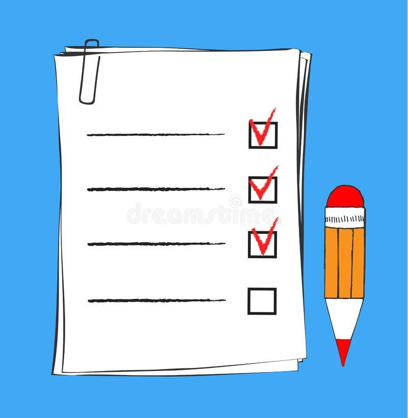 Robić listy ikonie w doodle nakreślenia liniach Biuro raportowa informacja Kreśli rękę z schowek listą kontrolną i pisze odosobni royalty ilustracja