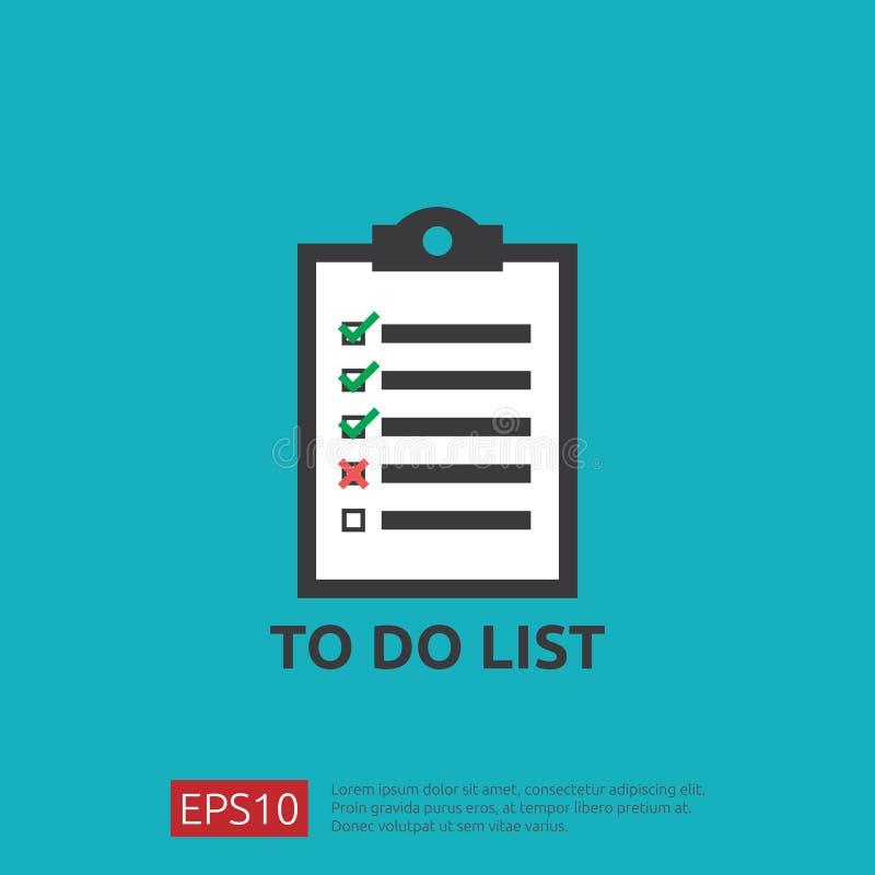Robić listy lub planowania ikonie w mieszkaniu projektuje wektorowy ilustracyjny pojęcie lista kontrolna papieru prześcieradła pr royalty ilustracja