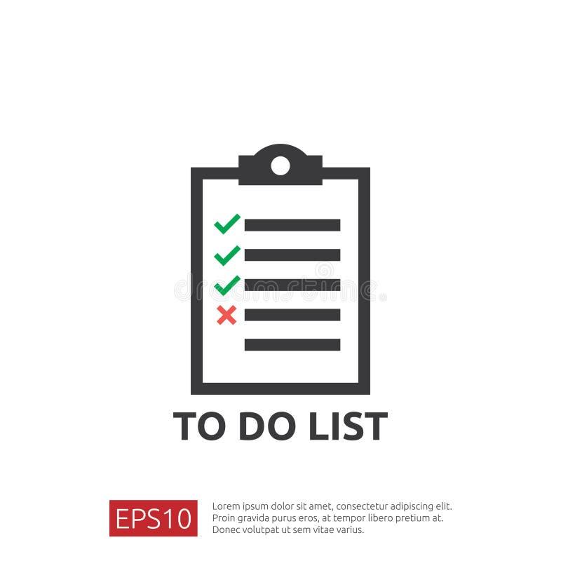 Robić listy lub planowania ikonie w mieszkaniu projektuje wektorowy ilustracyjny pojęcie lista kontrolna papieru prześcieradła pr ilustracja wektor