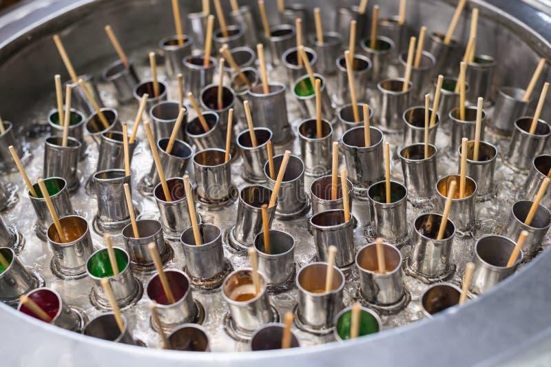 Robić lody wtyka w zbiorniku, kultura karmowy stylista obraz stock