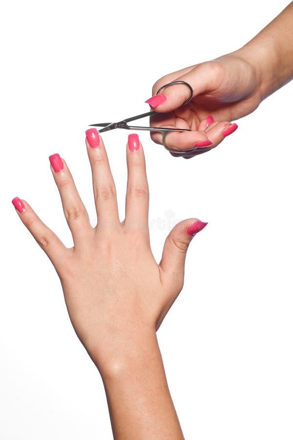 Robić manikiur kobiet ręki zdjęcia royalty free
