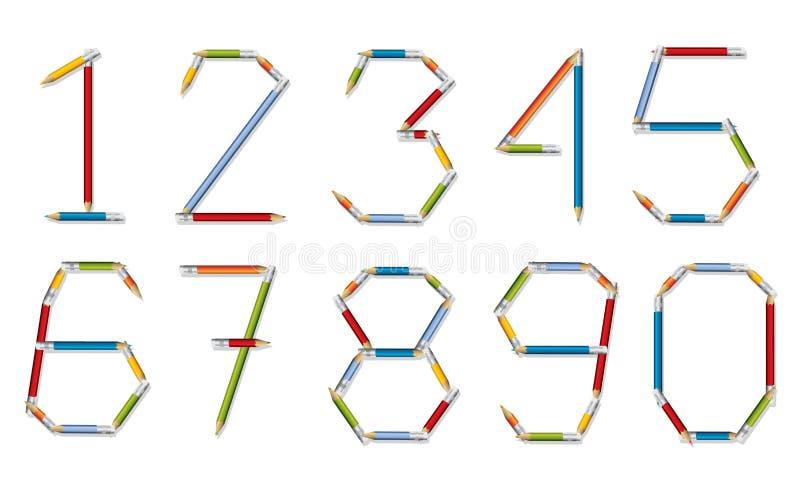 Robić ołówki numerowy set ilustracja wektor