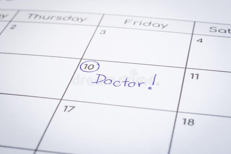 Robić osobistemu nominacyjnemu rozkładowi słowo lekarka zdjęcie royalty free