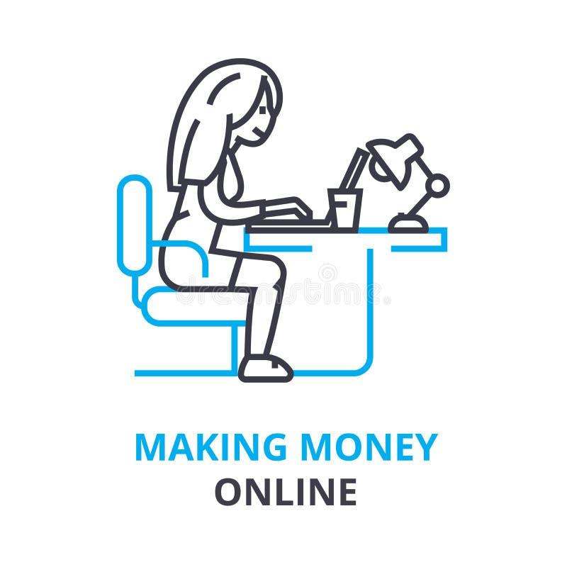 Robić pieniądze onlinemu pojęciu, kontur ikona, liniowy znak, cienieje kreskowego piktogram, logo, płaska ilustracja, wektor ilustracji