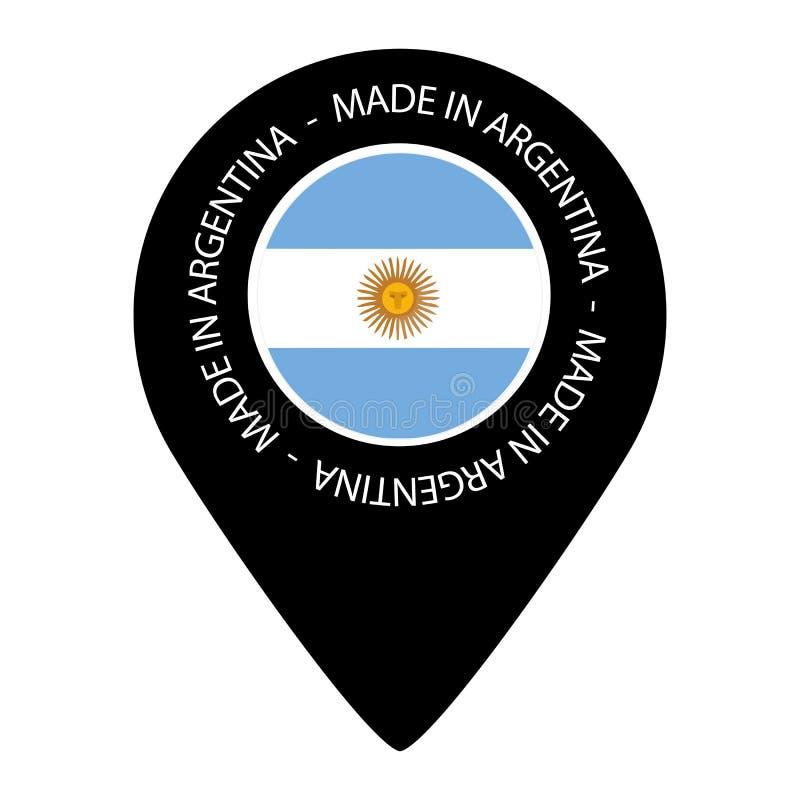 Robić W Argentyna Wektorowa ilustracja - Odizolowywająca Na bielu - mapa pointeru flaga - ilustracja wektor