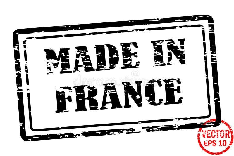 Robić w Francja - szablon grunged czarnego kwadrata znaczek dla biznesu odizolowywającego na białym tle ilustracji