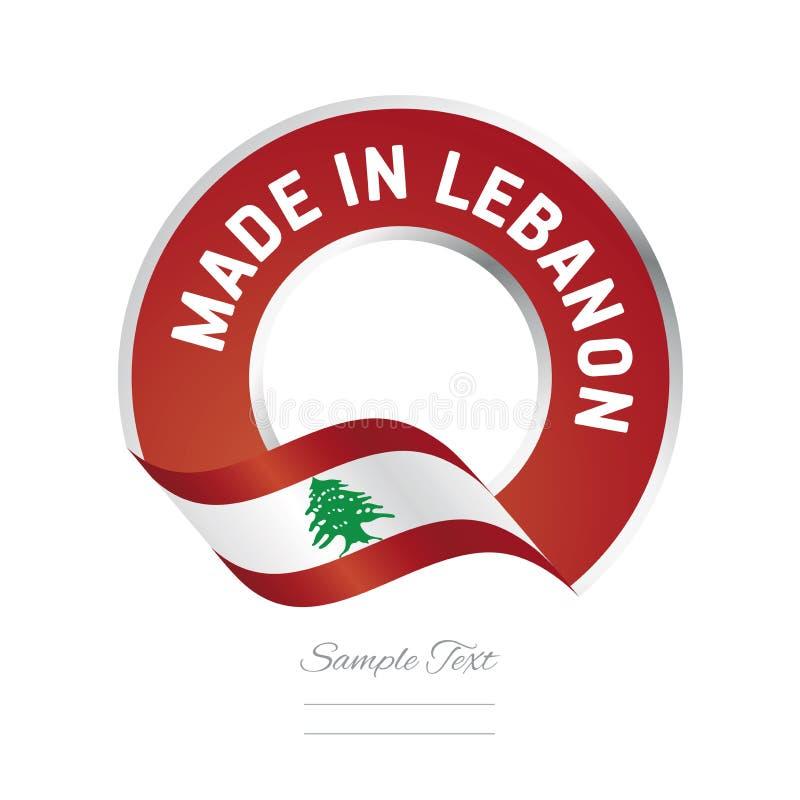 Robić w Liban czerwonego koloru etykietki loga chorągwianej ikonie royalty ilustracja