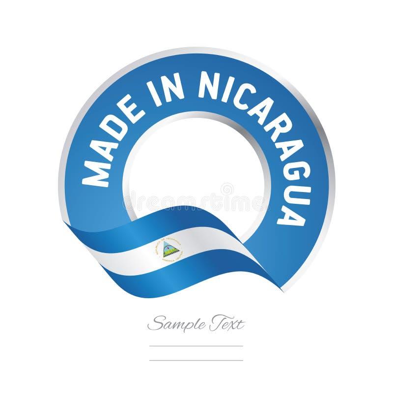 Robić w Nikaragua koloru etykietki guzika chorągwianym błękitnym sztandarze ilustracji