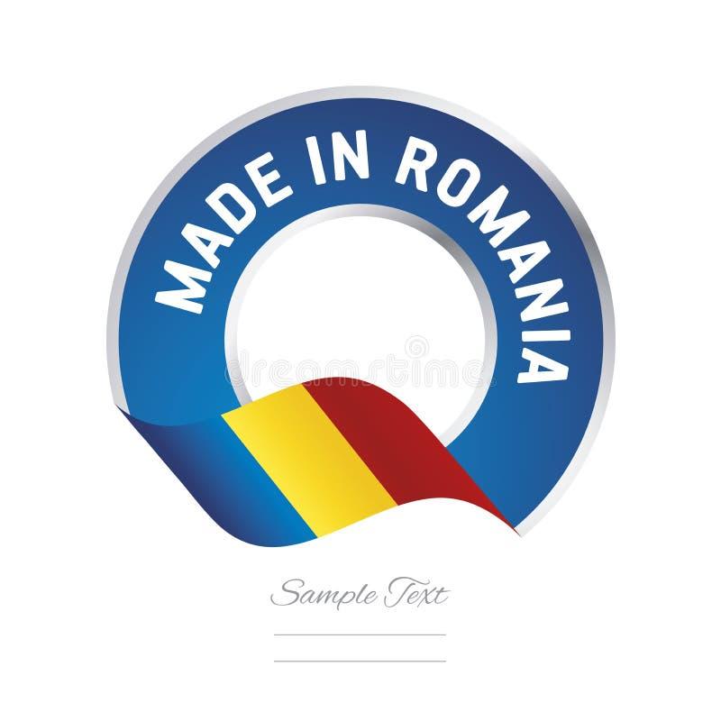 Robić w Rumunia koloru etykietki guzika loga ikony chorągwianym błękitnym sztandarze ilustracji