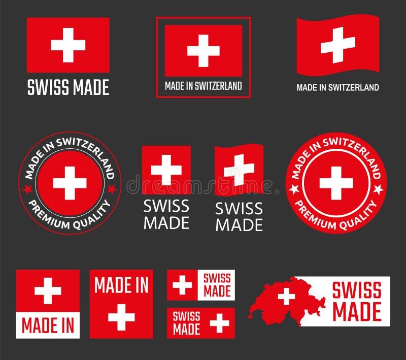 Robić w Szwajcaria etykietkach ustawiać, szwajcar robić produktu emblemat ilustracja wektor