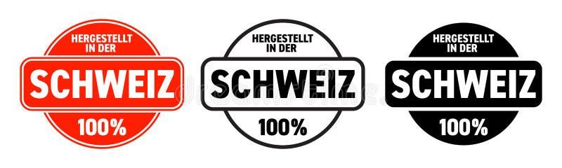 Robić w Szwajcaria wektoru ikonie Hergestellt w dera Schweiz, Szwajcarska robić ilość produktu etykietka, 100 procentów pakunku z ilustracja wektor