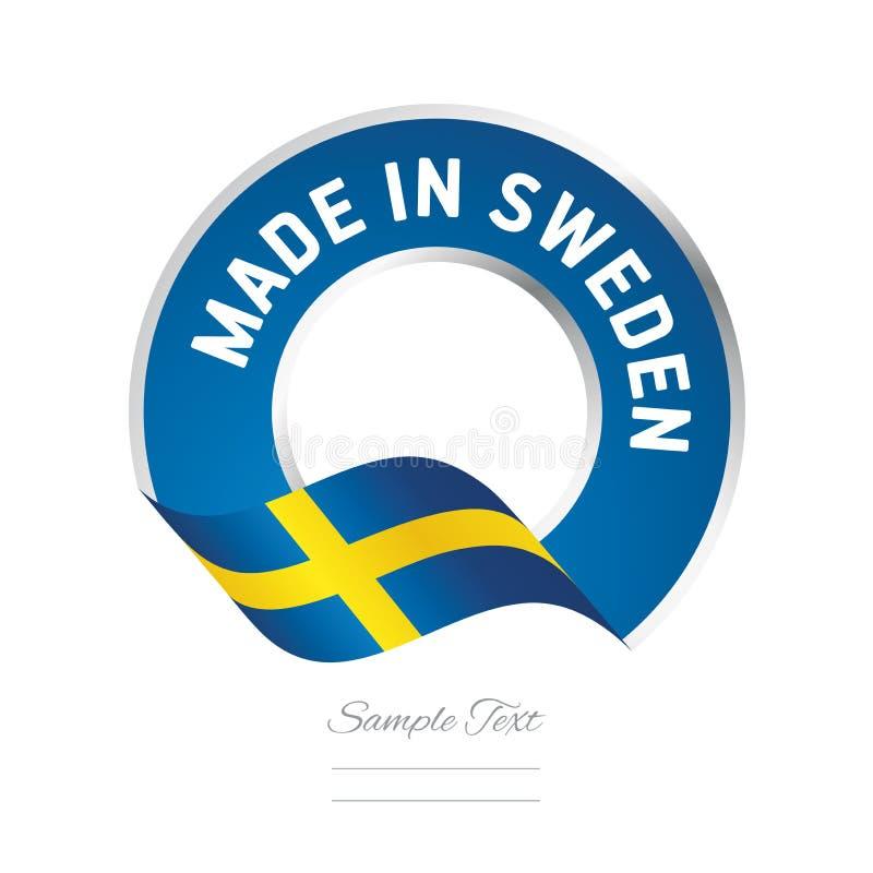 Robić w Szwecja koloru etykietki loga chorągwianej błękitnej ikonie ilustracja wektor