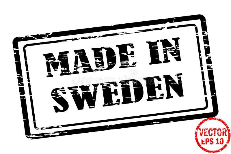 Robić w Szwecja - szablon grunged czarnego kwadrata znaczek dla biznesu odizolowywającego na białym tle royalty ilustracja