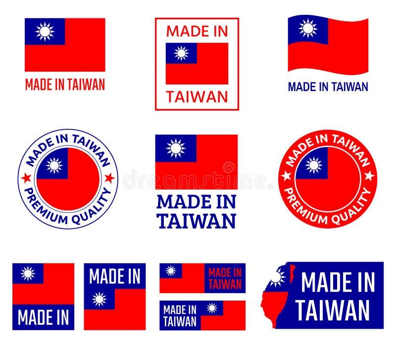 Robić w Tajwańskim ikona secie, republika Porcelanowe produkt etykietki ilustracja wektor