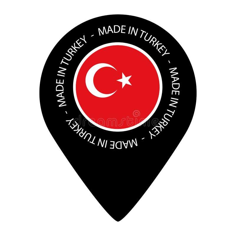 Robić W Turcja Wektorowa ilustracja - Odizolowywająca Na bielu - mapa pointeru flaga - royalty ilustracja