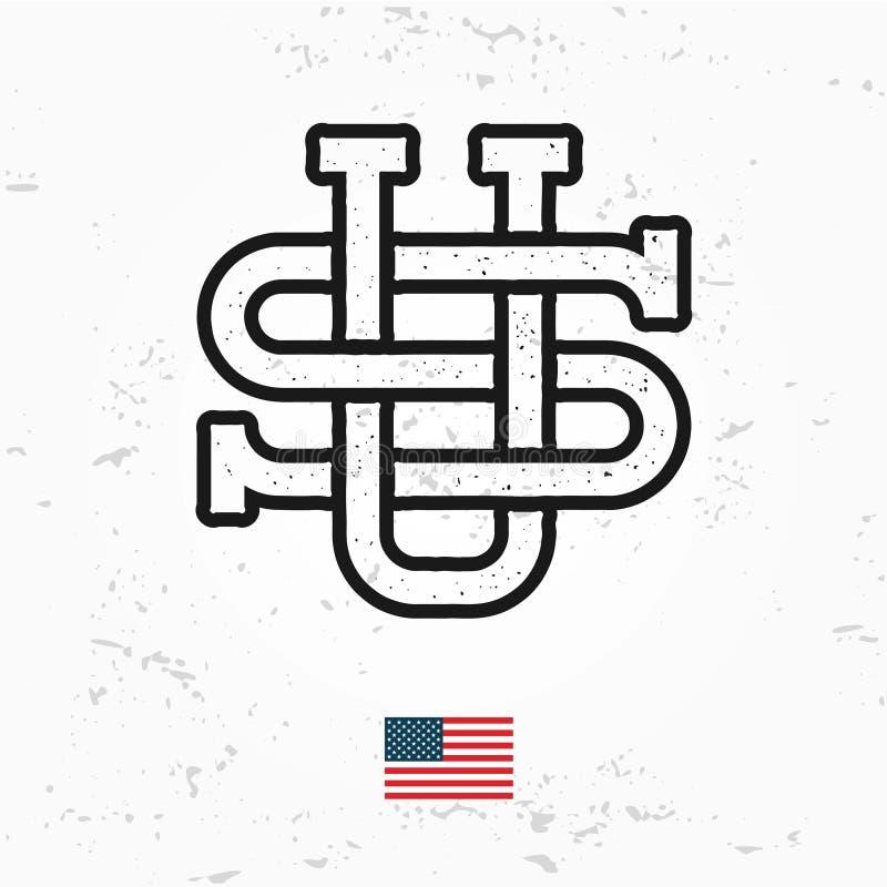 Robić w usa monograma wektorze Rocznika Ameryka loga projekt Retro Stany Zjednoczone foka royalty ilustracja