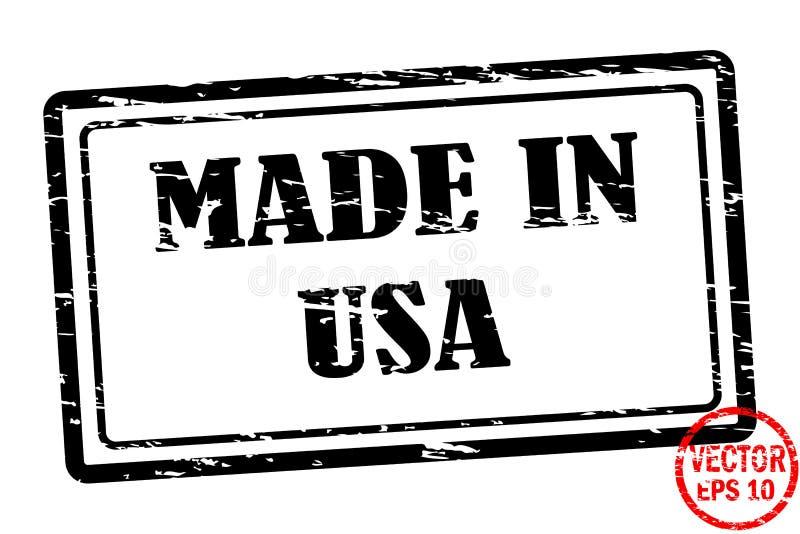 Robić w usa - szablon grunged czarnego kwadrata znaczek dla biznesu odizolowywającego na białym tle ilustracja wektor