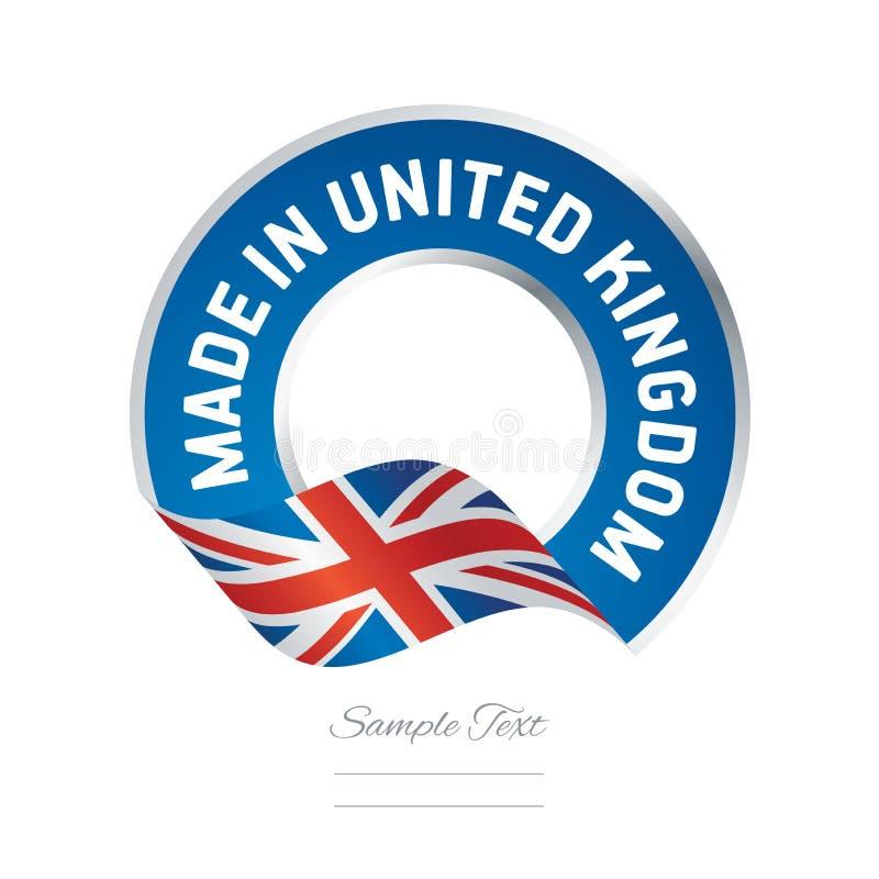 Robić w Zjednoczone Królestwo koloru etykietki guzika chorągwianym błękitnym sztandarze ilustracji