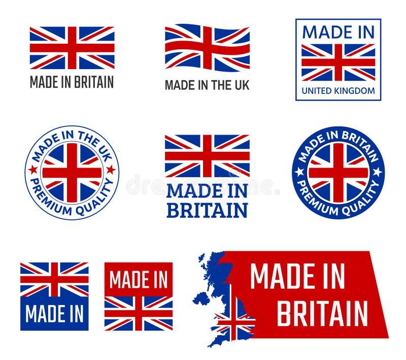 Robić w Zjednoczone Królestwo, Wielki Brytania produktu emblemat ilustracja wektor