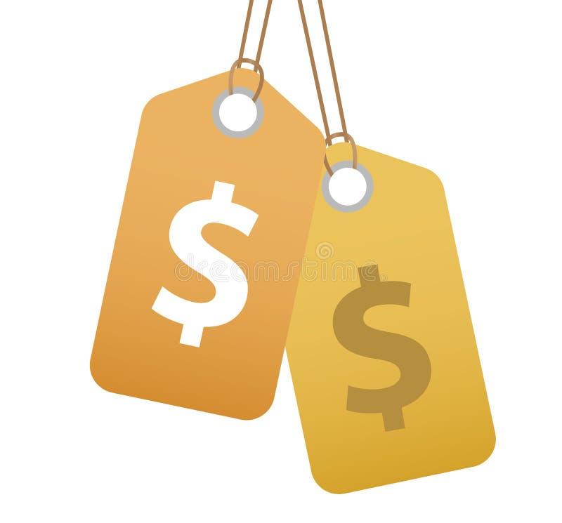 Robić zakupy etykietkę z dolarowego znaka ikoną, płaski projekt Etykietki, etykietka odizolowywająca na białym tle Wektorowa ilus ilustracja wektor