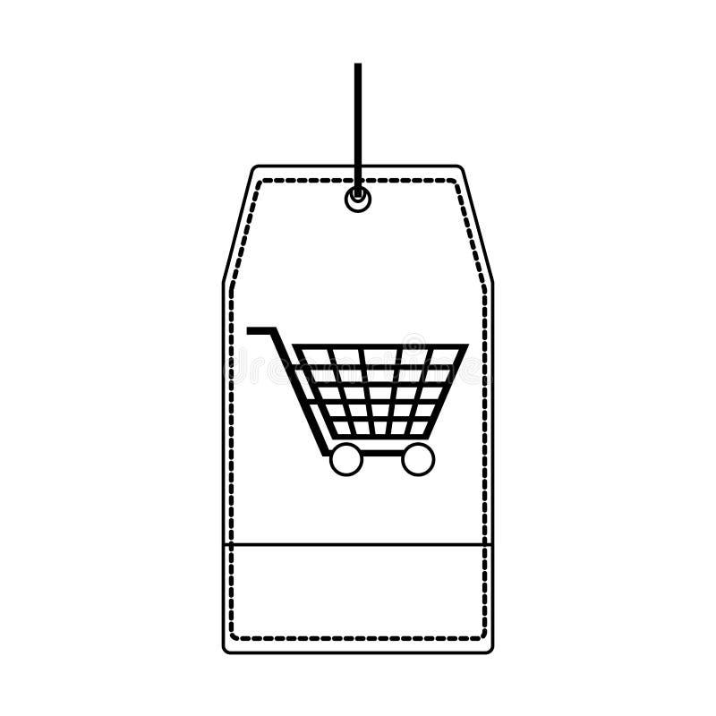 Robić zakupy etykietki etykietkę w czarny i biały royalty ilustracja