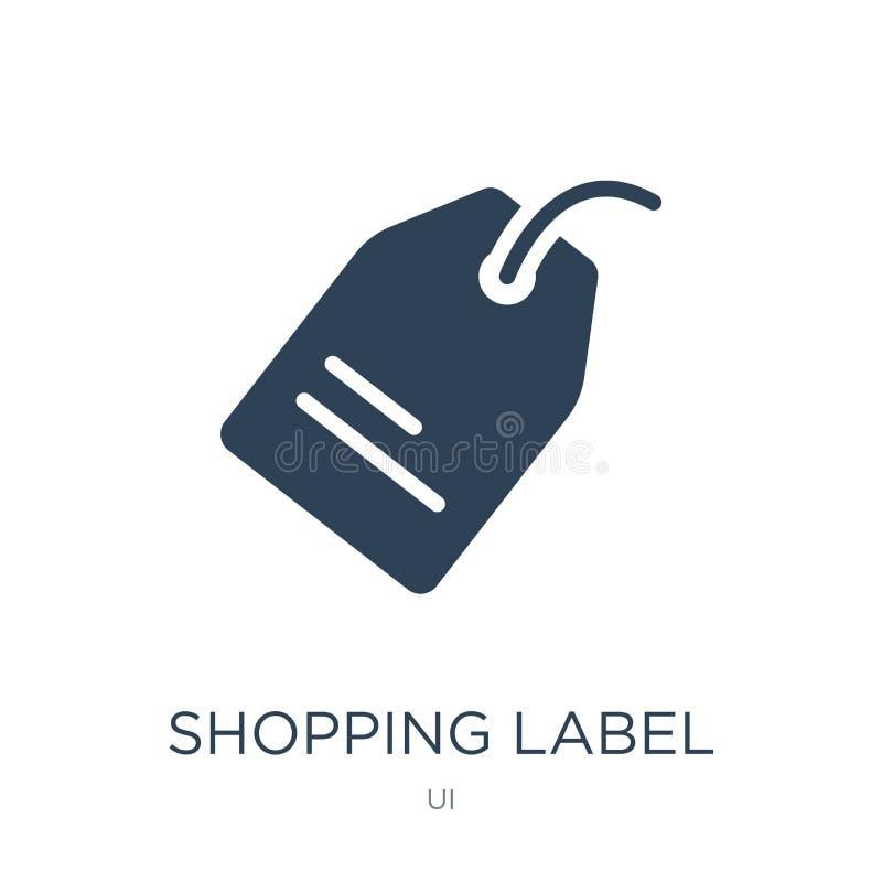 robić zakupy etykietki ikonę w modnym projekta stylu robiący zakupy etykietki ikonę odizolowywającą na białym tle robiący zakupy  ilustracja wektor