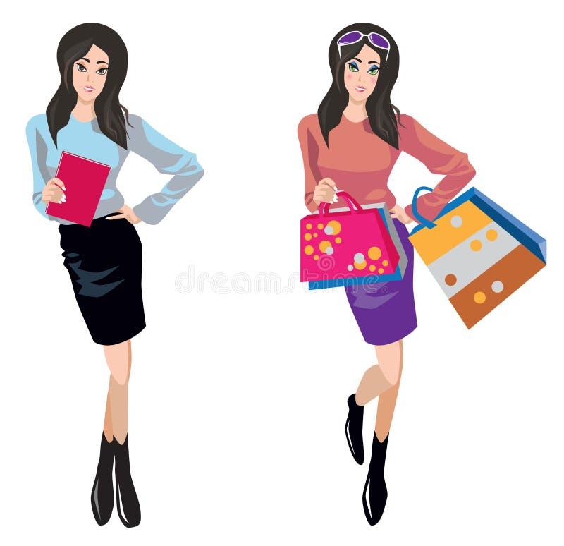 Robić zakupy i biznesowa kobieta ilustracji