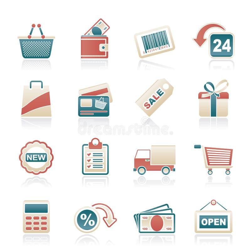 Robić zakupy i detaliczne ikony ilustracji