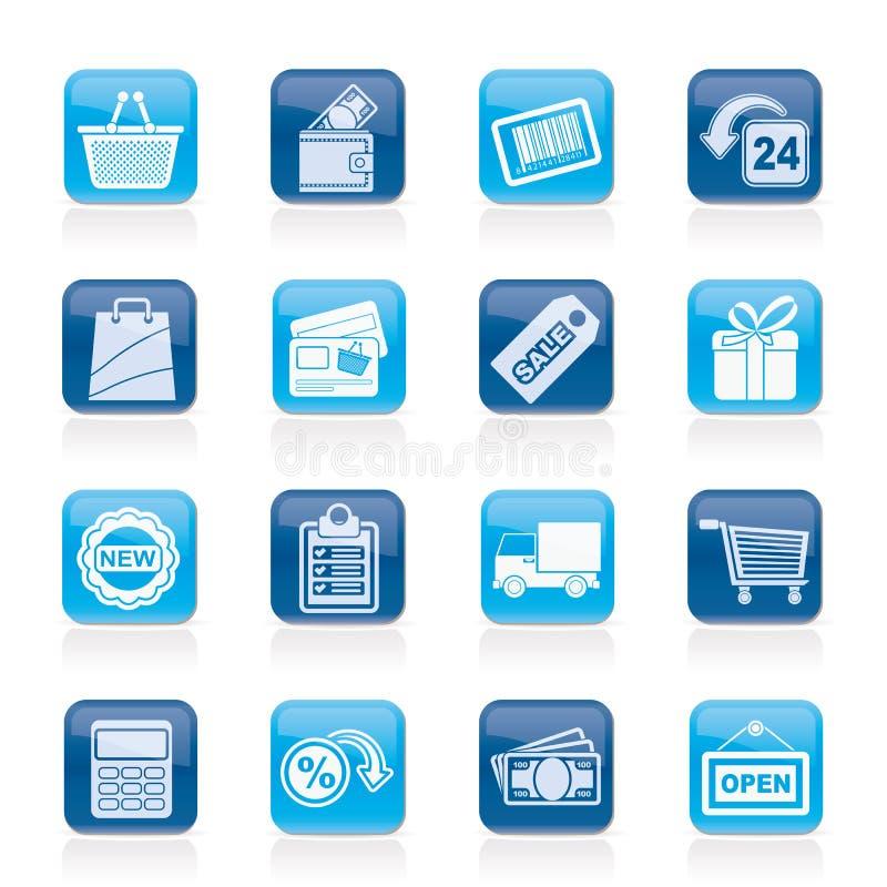Robić zakupy i detaliczne ikony ilustracja wektor