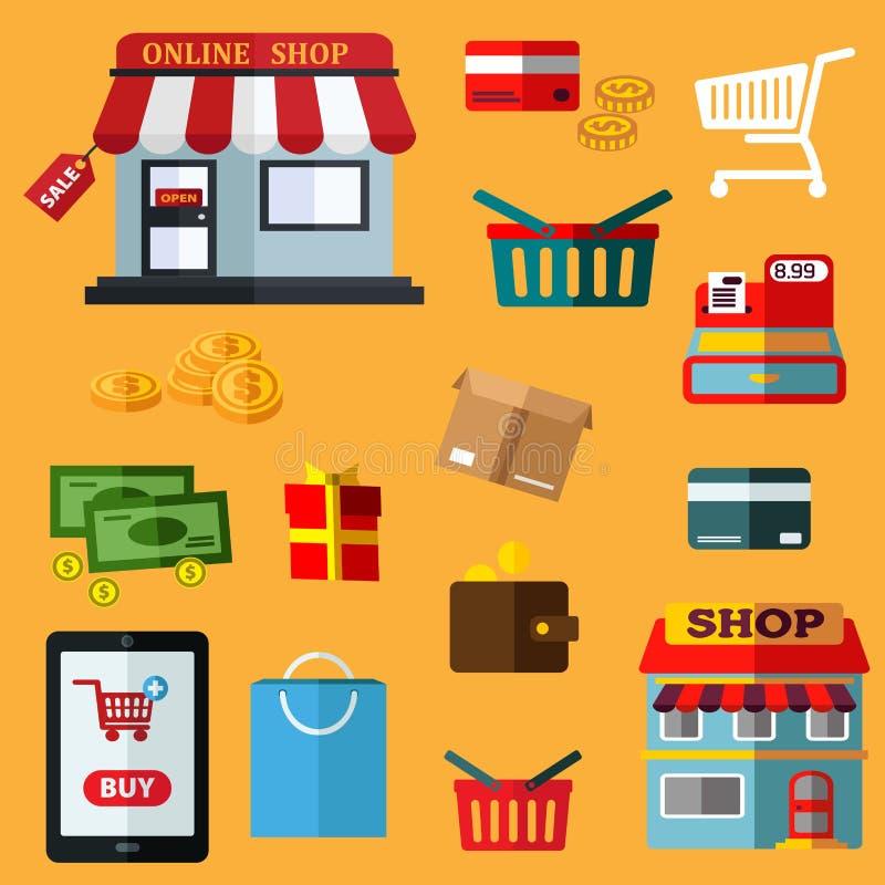 Robić zakupy i detaliczne płaskie ikony ilustracja wektor