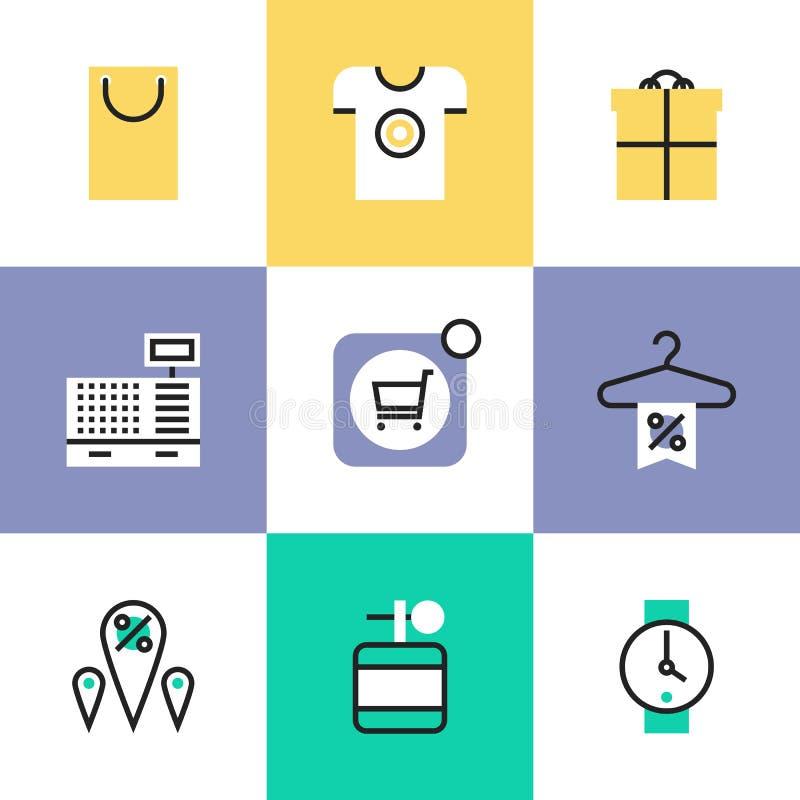 Robić zakupy i detaliczne piktogram ikony ustawiający ilustracja wektor