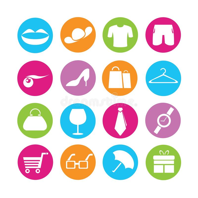 Robić zakupy i mody ikony ilustracji