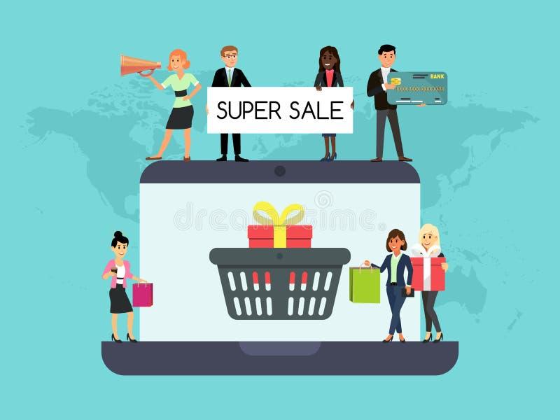 Robić zakupy ludzi na laptop online strony internetowej pojęcia wektorowym marketingu i cyfrowym marketingu Smartphone rynku klie ilustracji
