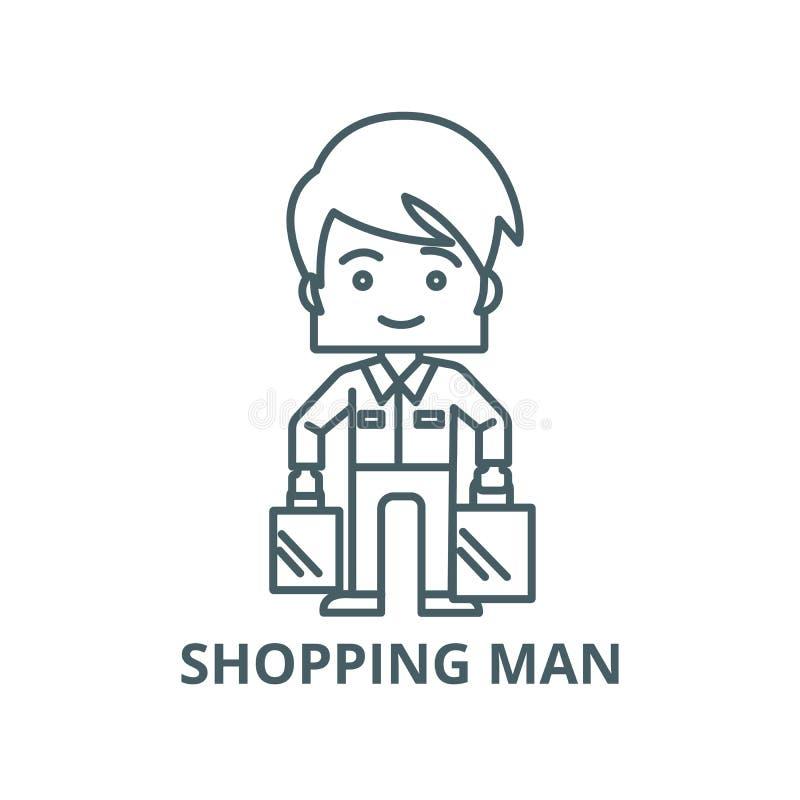 Robić zakupy mężczyzny bierze torba wektoru linii ikonę, liniowy pojęcie, konturu znak, symbol royalty ilustracja