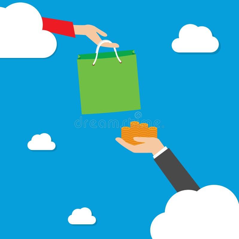 Robić zakupy na chmurze ilustracja wektor