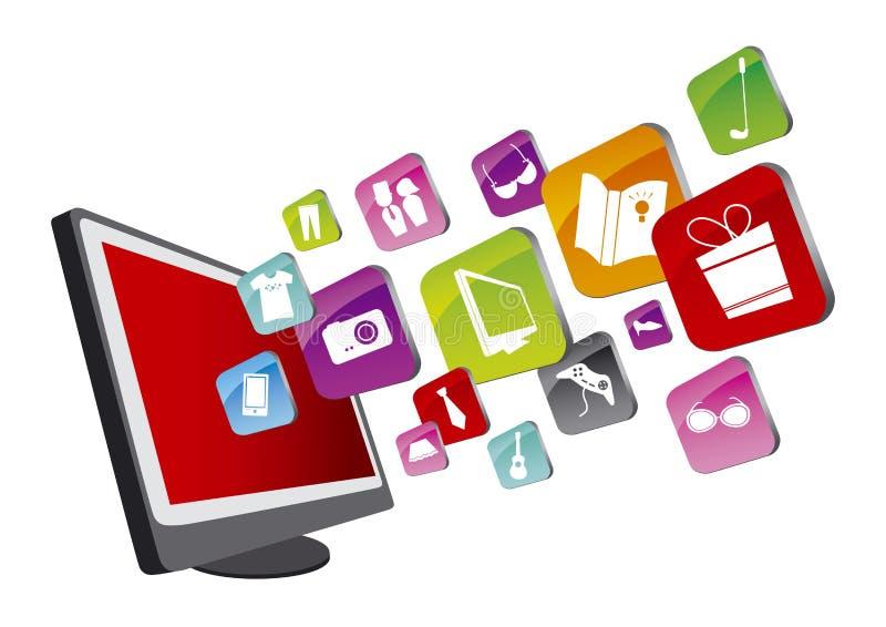 Robić zakupy online ilustracji