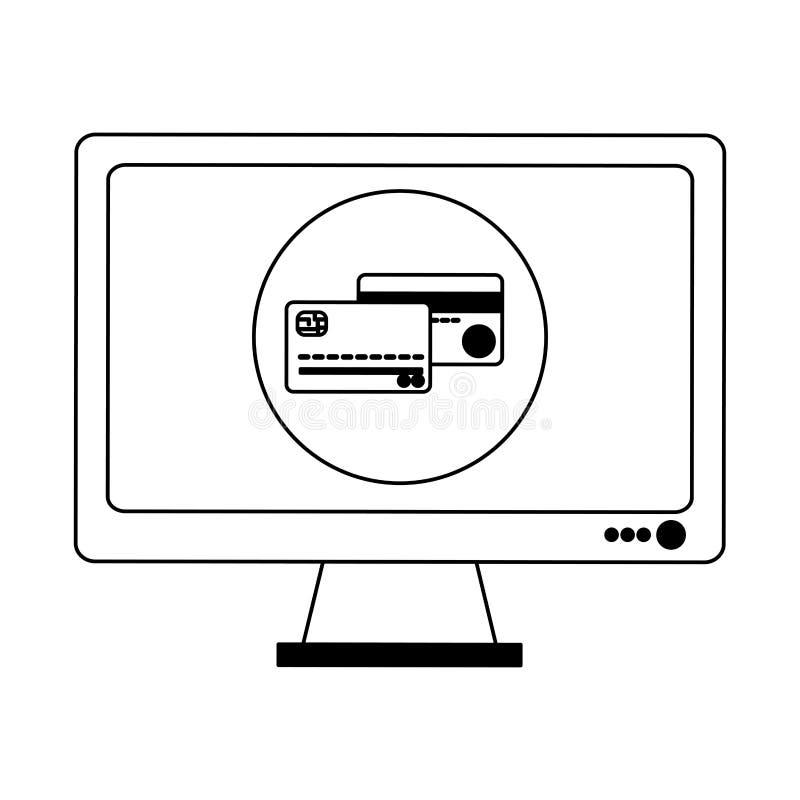 Robić zakupy online ekran komputerowego w czarny i biały ilustracji
