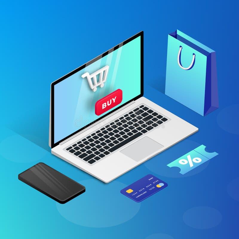 Robić zakupy Online laptopu błękitną isometric ilustrację royalty ilustracja