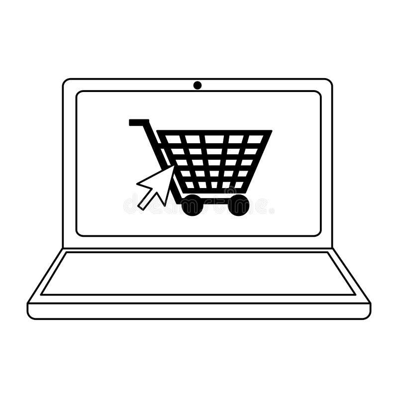 Robić zakupy online laptopu i fury symbol w czarny i biały royalty ilustracja