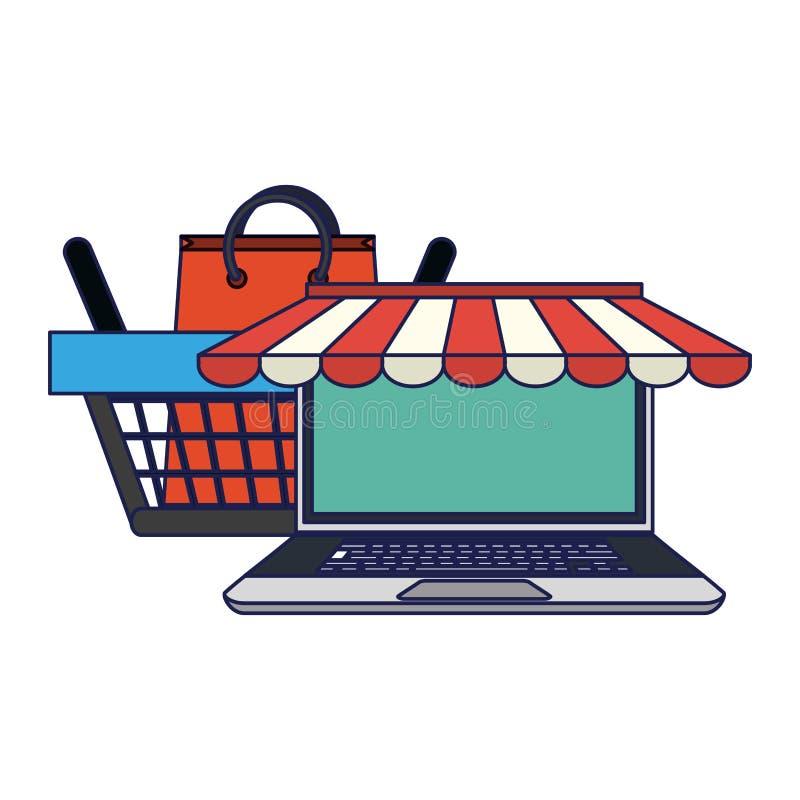 Robić zakupy online qirh laptop, kosz i royalty ilustracja