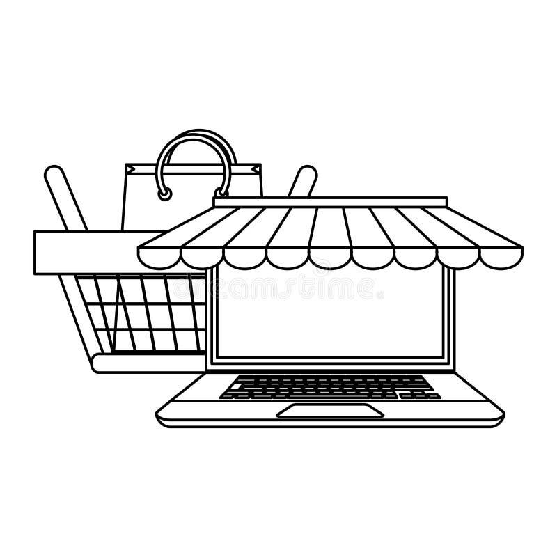 Robić zakupy online qirh laptop, kosz i ilustracja wektor