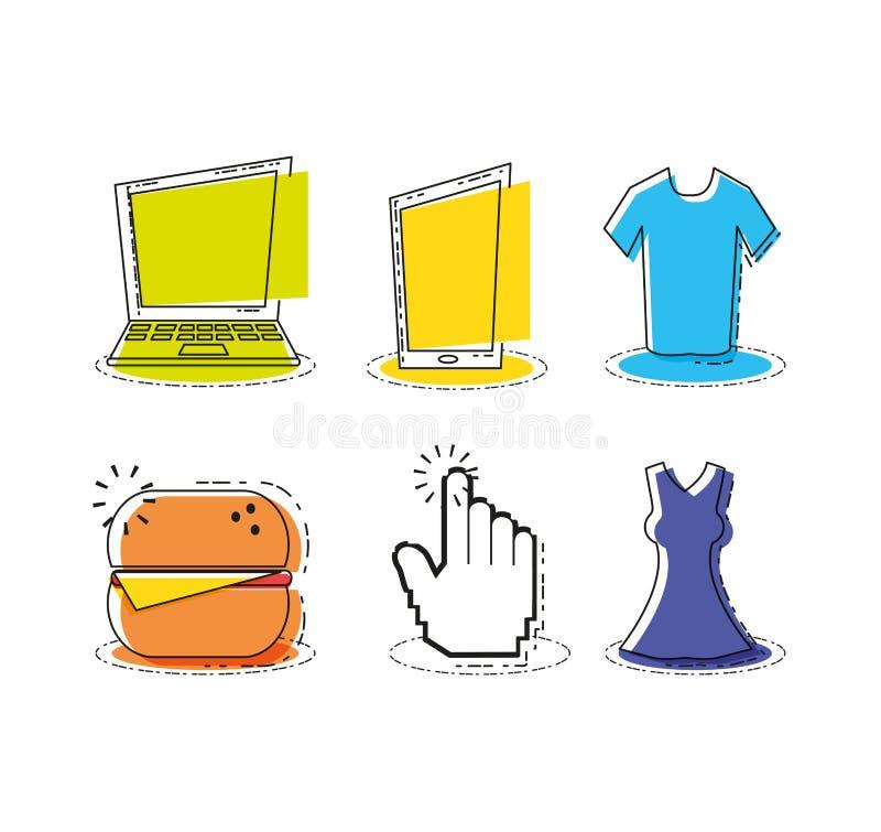 Robić zakupy online wystrzał sztuki ustalone ikony ilustracji