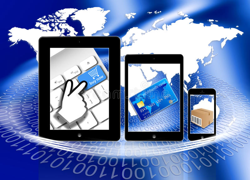 Robić zakupy płacący doręczeniowy online ilustracja wektor