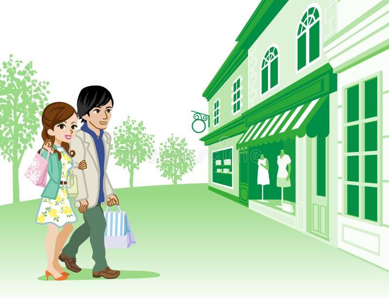 Robić zakupy pary w Retro miasteczku royalty ilustracja