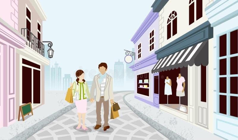 Robić zakupy pary w Staromodnym town-EPS10 ilustracji