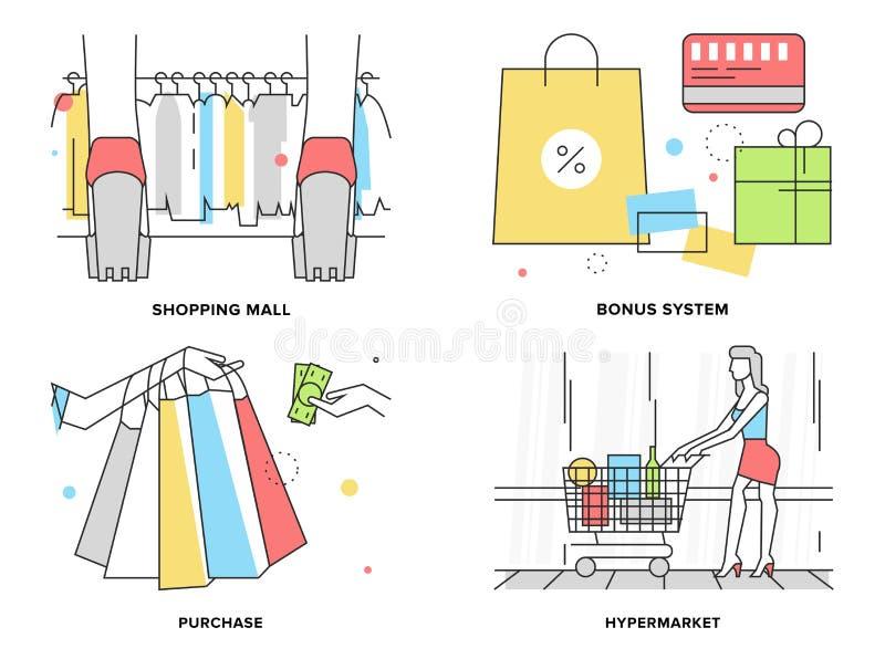 Robić zakupy przy centrum handlowe płaską kreskową ilustracją ilustracja wektor