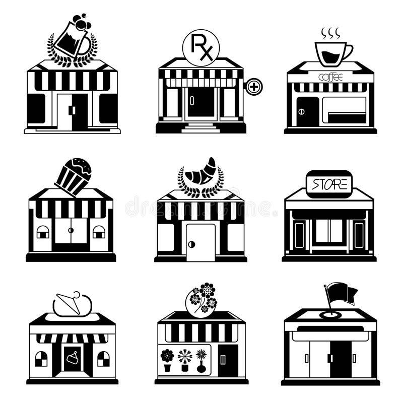 Robić zakupy sklep ikony ilustracja wektor