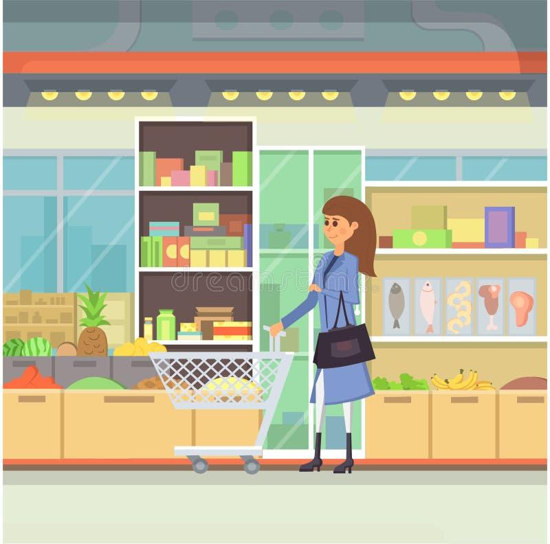 Robić zakupy w centrum handlowe kreskówki ilustraci Ludzie w Centre wektorze Jedzenie rynek ilustracja wektor